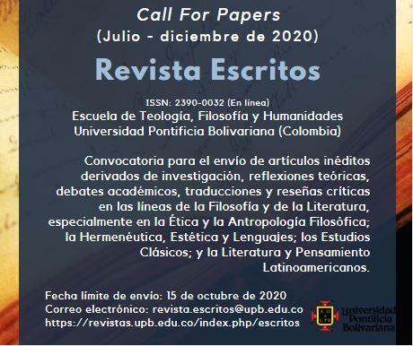 Call for Papers - Escritos 2020-2
